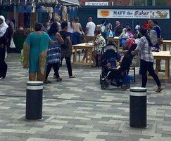 Automatic bollards for Wolverhampton market place