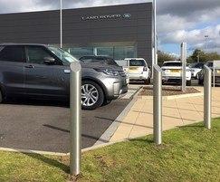 Stainless steel mitre-top bollard, Land Rover forecourt