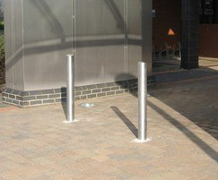 Root fixed stainless steel bollards with brushed finish