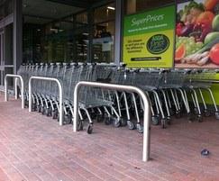 Stainless steel perimeter barriers used as trolley bays