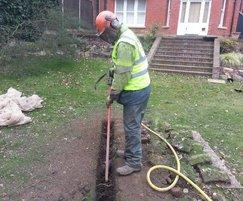Air Spade trench  excavation leaves tree roots intact