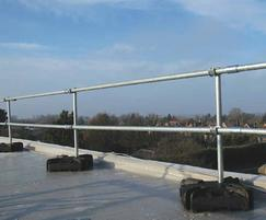 Rooftop movable guardrail with weights