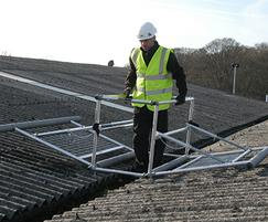Mobile safety cage for fragile roofs