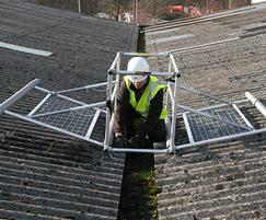 Mobile valley frame for fragile roofs