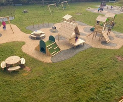 New timber play equipment and safety surfacing for park