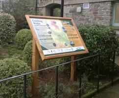 Oak lectern frame and printed GRP sign