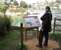 Oak lectern-mounted interpretation signage