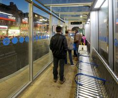Bus shelters with stainless steel seating