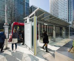 Transparent solar glass in bus shelter