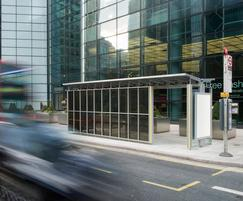 Integrated photovoltaic glass in bus shelter