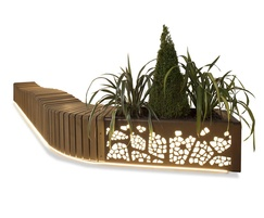 Natural Elements lit LED planter and wave effect bench
