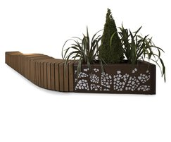 Natural Elements wave effect bench and planter