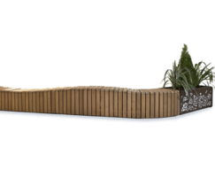 Natural Elements wave effect bench with planter