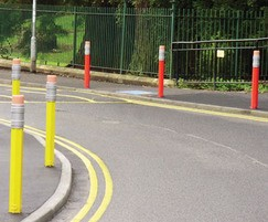 PiPencil Ferrocast polyurethane red and yellow bollards