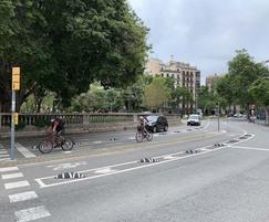 Zebra Zero cycle lane segregation - Barcelona