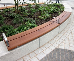 Basic wall-mounted stainless steel and hardwood bench