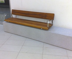 Basic wall-mounted stainless steel and timber bench