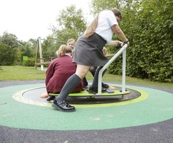 Scooter enables users to propel the roundabout