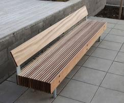 Woody bench with backrest