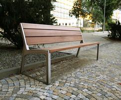 Park bench - wooden seat and back; aluminium frame