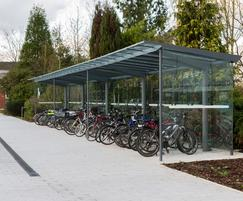 Bespoke 20m cycle shelter and Edgetyre cycle stands