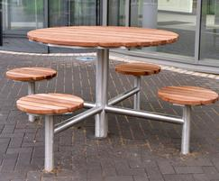 Picnic table set for college campus
