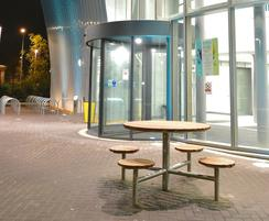 Outdoor seating and table at SERC campus