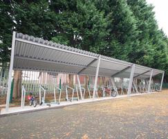 Cycle shelter at Clandeboye Primary School