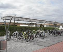 Cycle parking and shelters plus litter bin