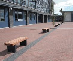 External timber frame benches at Ellon Academy