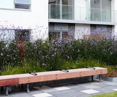 Woody timber external bench - Streatham