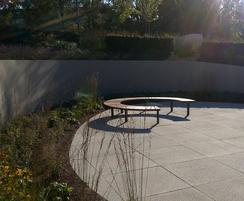Outdoor circular seating at Kestrel House
