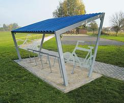 Cycle shelter with galvanised steel framework