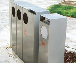 All-steel recycling, litter and dog waste bins