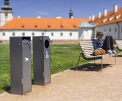 All-steel recycling and dog waste bins