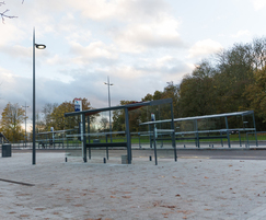 Bus shelters and cycle racks on redeveloped campus