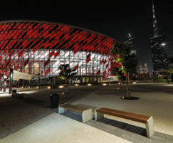 Dubai arena with external benches and litter bins