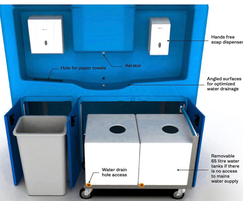 HydroPod hand washing station compartments