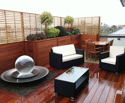 Hardwood decking & matching planters to roof terrace