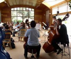 Orchestra practising on the raised pool floor
