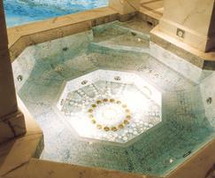 Gorgeous gold mosaic tiles adorn this luxury spa