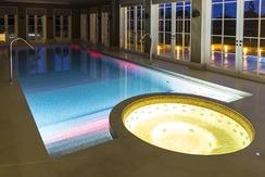 Award winning integrated pool & spa - night time shot