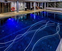 Luxury hotel pool with underwater lighting