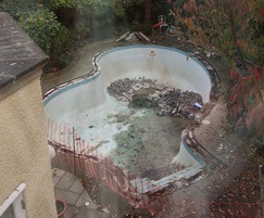 Large old-fashioned pool being modernised