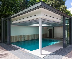 Luxury indoor pool - glazed pool hall, doors open