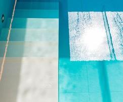 Luxury indoor pool. Ceiling light streams into pool