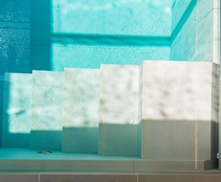 Luxury indoor pool - close up of steps