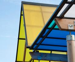 Winterbourne walkway with coloured polycarbonate roofing