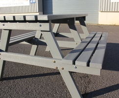 Brand new recycled plastic picnic table in grey