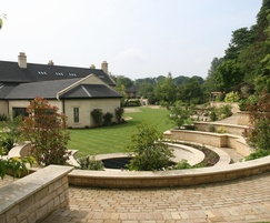 Hard landscaping: paving, walling, planting, pergola